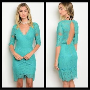 🆕⭐️ Teal Backless Crochet Lace Bodycon Dress